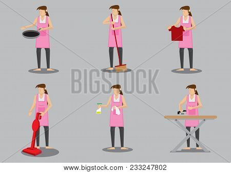 Woman Wearing Apron Doing Common Household Chores. Set Of Six Vector Cartoon Illustration Isolated O