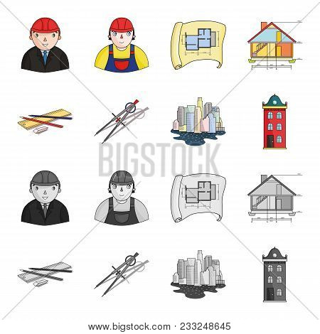 Drawing Accessories, Metropolis, House Model. Architecture Set Collection Icons In Cartoon, Monochro