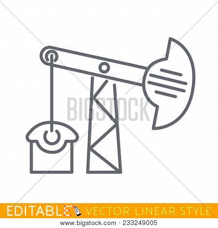 Oil Pump Or Oil Rig Or Pump Jack Icon. Editable Line Sketch Icon. Stock Vector Illustration.