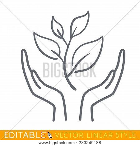 Icon Plant Growing On Open Hands Palms. Editable Line Sketch Icon. Stock Vector Illustration.