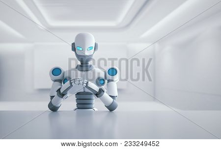 Robot Sitting In Front Of Empty Table, Artificial Intelligence In Futuristic Technology Concept, 3d