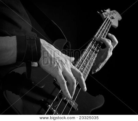 Guitar In Male Hands, Black And White