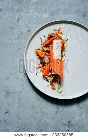 Carrot Dessert On A Plate. High Kitchen. Non-standard Feed. Carrot Cake With Spicy Biscuit, Carrot T