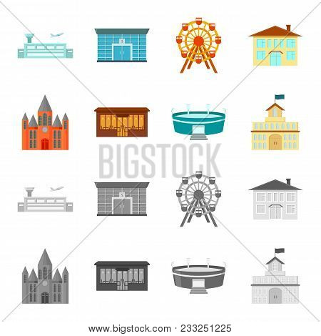 House Of Government, Stadium, Cafe, Church.building Set Collection Icons In Cartoon, Monochrome Styl