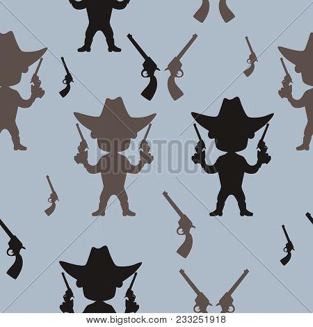 Seamless Pattern Cowboy. Flat Design. Vector Illustration