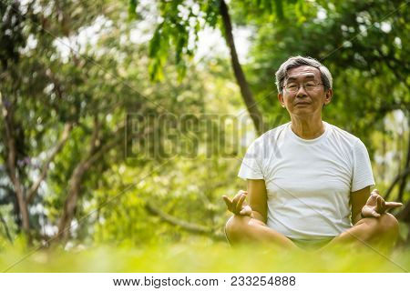 Senior Man In Lotus Pose Sitting On Green Grass In A Park. Concept Of Calm And Meditation.