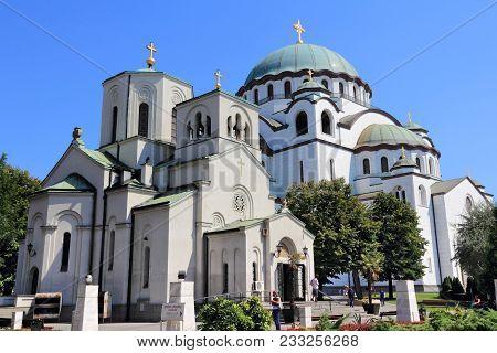 Belgrade, Serbia - August 15, 2012: People Visit Saint Sava Cathedral In Belgrade, Serbia. Belgrade