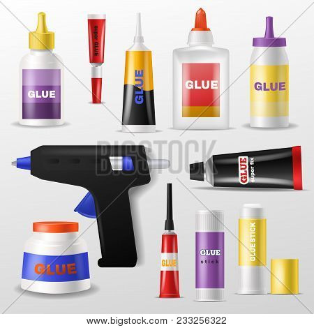 Glue Vector Gluestick And Gluely Liquid In Bottle Or Plastic Tube For Glueing Paper Illustration Set
