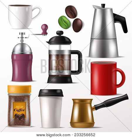 Coffee Cup Vector Mug For Hot Espresso And Beverages With Caffeine In Coffeeshop Illustration Set Of