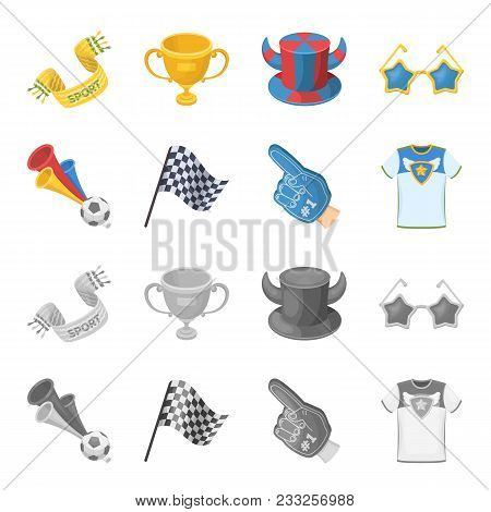 Pipe, Uniform And Other Attributes Of The Fans.fans Set Collection Icons In Cartoon, Monochrome Styl
