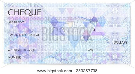 Check (cheque), Chequebook Template. Guilloche Pattern With Abstract Watermark, Spirograph. Backgrou