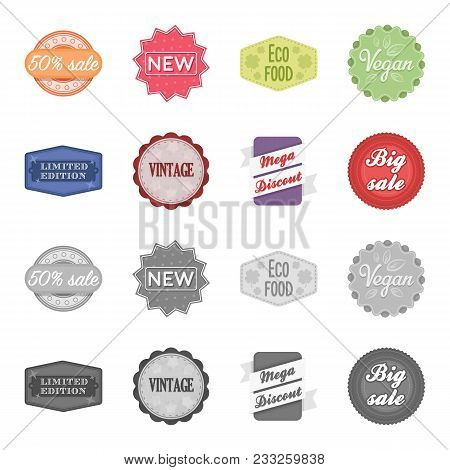 Limited Edition, Vintage, Mega Discont, Dig Sale.label, Set Collection Icons In Cartoon, Monochrome
