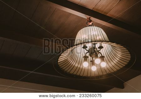 Incandescent Lamps In A Modern Cafe. Edison Lamp.light Lamp Electricity Hanging Decorate Home Interi