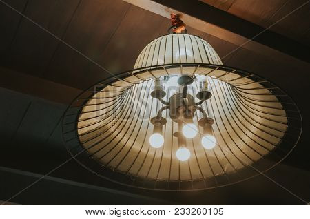 Light Lamp Electricity Hanging Decorate Home Interior.incandescent Lamps In A Modern Cafe. Edison La