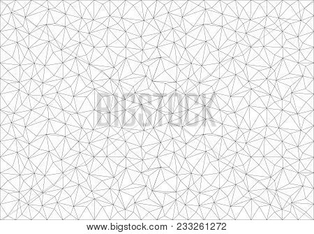 Abstract Black Line Polygon Mesh On White Background Vector Illustration.