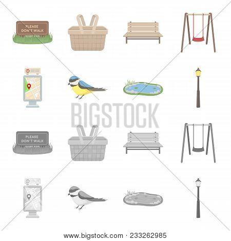 Territory Plan, Bird, Lake, Lighting Pole. Park Set Collection Icons In Cartoon, Monochrome Style Ve