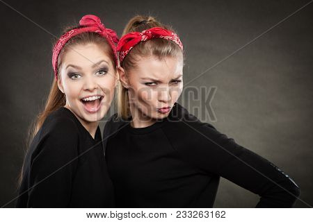 Craze Fun And Positive Madness. Women Showing Their Funny Faces Feel Carefree. Girls In Retro Pin Up
