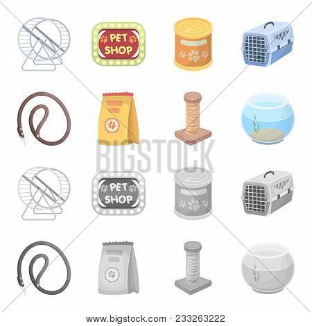 Leash, Feed And Other Zoo Store Products.pet Shop Set Collection Icons In Cartoon, Monochrome Style