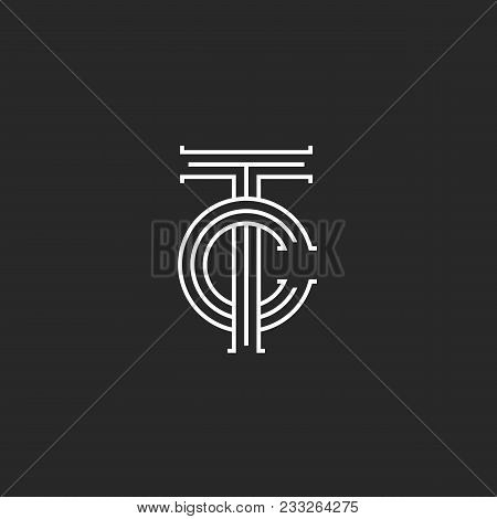 Letters Tc Logo Monogram, Overlapping Thin Lines Ct Initials Emblem, Linear Style Two Letters T And