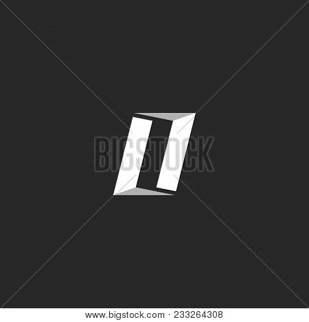 Letter O Logo Or Combination Two Letters Ll, Construction Open Door Emblem