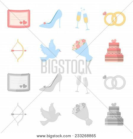 Arrow Cupid, Dove, Bouquet Of Flowers, Wedding Cake. Weddin Gset Collection Icons In Cartoon, Monoch