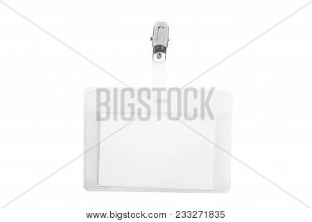 Blank Name Tag In A Plastic Sleeve. Empty Id Card