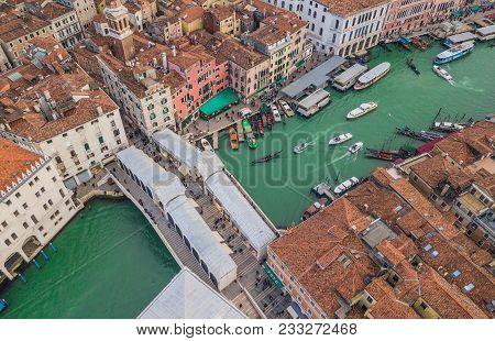 Aerial View Of Rialto Bridge In Venice