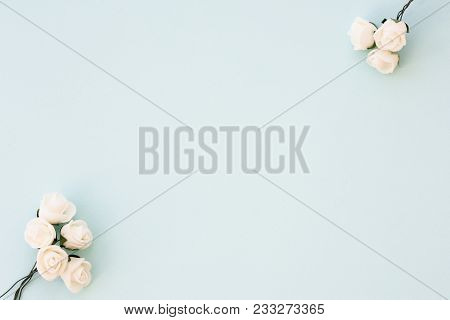 Styled Stock Photo. Feminine Wedding Desktop Mockup. White Roses On Delicate Blue Background. Copy S