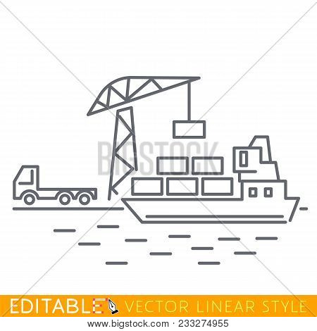 Container Cargo Ship Loaded By Harbor Crane From Cargo Truck In The Port Dock. Naval Transportation