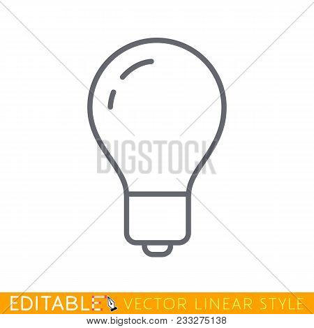 Light Bulb Line Icon Vector, Isolated On White Background. Idea Sign, Solution, Thinking Concept. Ed