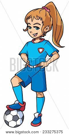Full Length Illustration Of A Competitive Girl And Football Player With Blue Uniform Smiling At The