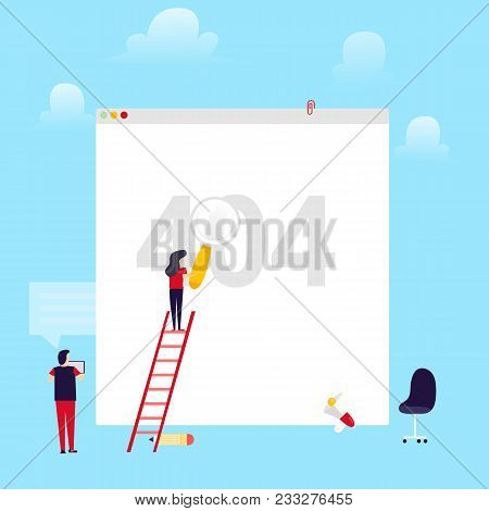 Error 404 Page Flat Layout Concept With Man And Girl Fixing Broken Connection. Website Requested Cou