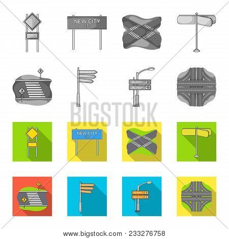 Direction Signs And Other  Icon In Monochrome, Flat Style.road Junctions And Signs Icons In Set Coll