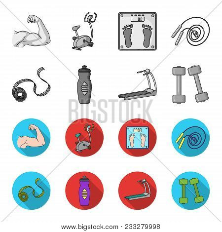 Measuring Tape, Water Bottle, Treadmill, Dumbbells. Fitnes Set Collection Icons In Monochrome, Flat