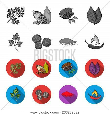 Ptrushka, Black Pepper, Paprika, Chili.herbs And Spices Set Collection Icons In Monochrome, Flat Sty