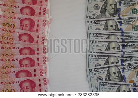 Banknote Currency Chinese Yuan (cny Or Rmb) And Us Dollars (usd) Together With Copy Space For Intern
