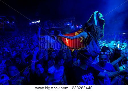 Novi Sad, Serbia - July 07 : Young Girls With Serbian And Montenegro Flags In Crowd On Dance Arena A