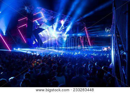 Novi Sad, Serbia - July 07 : Crowd In Front Of The Stage On Dance Arena Dj Set On Exit Festival 2017