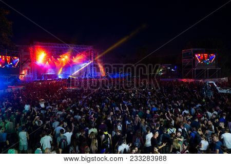 Novi Sad, Serbia - July 07 : Crowd In Front Of The Main Stage On Exit Festival 2017, Summer Of Love