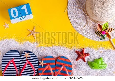 May 1St. Image Of May 1 Calendar With Summer Beach Accessories. Spring Like Summer Vacation Concept.