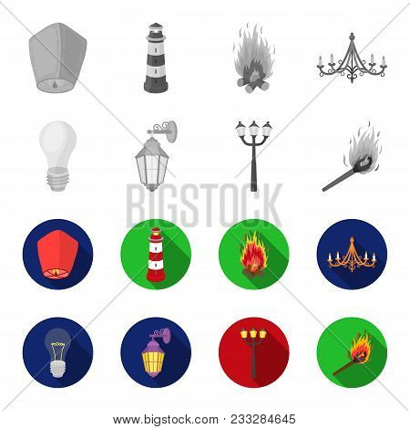 Led Light, Street Lamp, Match.light Source Set Collection Icons In Monochrome, Flat Style Vector Sym