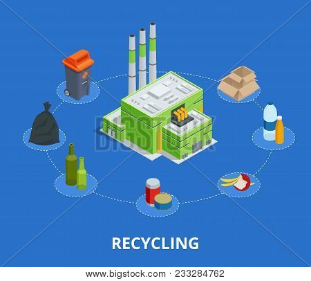 Recycling Garbage Elements Trash Bags Tires Management Industry Utilize Waste Can Vector Illustratio
