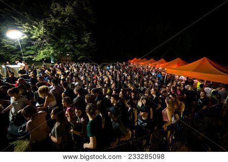 Novi Sad, Serbia - July 05 : Crowd In Front Of The Main Entrance On Exit Festival 2017, Summer Of Lo