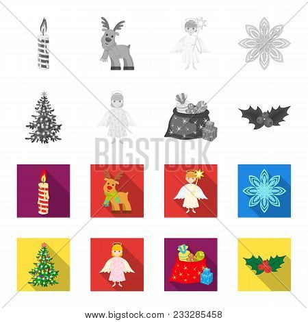 Christmas Tree, Angel, Gifts And Holly Monochrome, Flat Icons In Set Collection For Design. Christma
