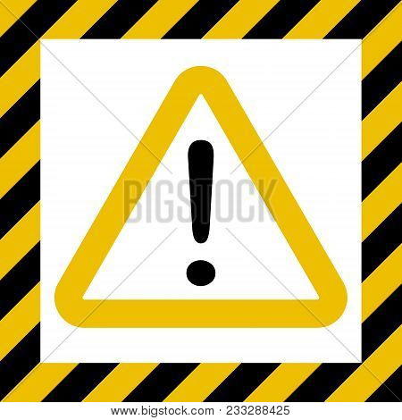 Hazard Symbol Sign, Exclamation Mark, Warn Caution Construction, Vector Striped Background, Hazard M