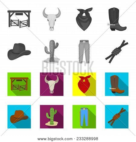 Hat, Cactus, Jeans, Knot On The Lasso. Rodeo Set Collection Icons In Monochrome, Flat Style Vector S