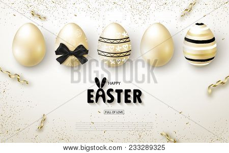 Happy Easter Background With Realistic Golden Shine Eggs And Serpentine. Design Layout For Invitatio