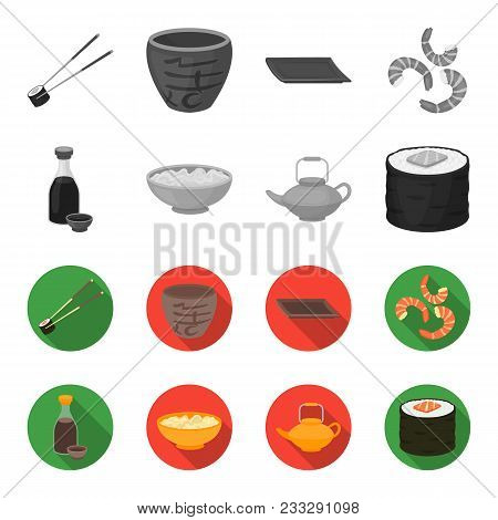Soy Sauce, Noodles, Kettle.rolls.sushi Set Collection Icons In Monochrome, Flat Style Vector Symbol