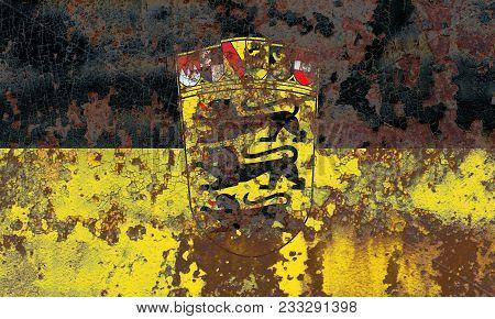 Baden Wurttemberg Grunge Flag, Germany State, Old Flag