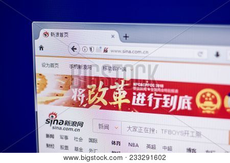 Ryazan, Russia - March 01, 2018 - Homepage Of Sina - Popular Chinese Service On A Display Of Pc.
